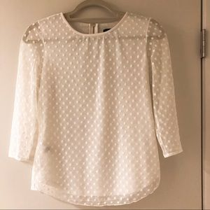 Ann Taylor Cream Lace Sheer Top